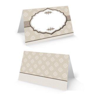 Tischkarte 8,5 x 5,5 cm braun beige creme mit Ornamenten Shabby Chic