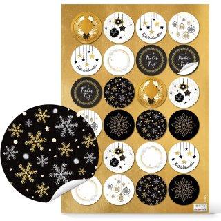Weihnachtsaufkleber schwarz weiß gold - 4 cm selbstklebend