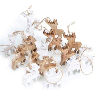 16 Rentiere zum Aufhängen braun weiß aus Holz - als Weihnachtsdeko