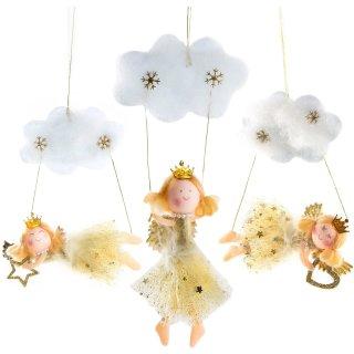 3 Engelanhänger mit Wolke - Engel mit Krönchen zum Aufhängen