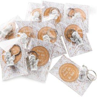 10 kleine Schutzengel Schlüsselanhänger mit Karte SCHÖN DASS DU DA BIST