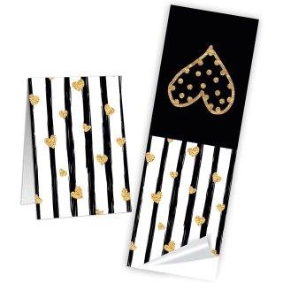 Geschenkaufkleber in schwarz weiß gold mit Herzen - 5 x 14,8 cm