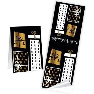 Längliche Frohe Weihnachten Geschenkaufkleber - 5 x 14,8 cm -  Gold schwarz weiß