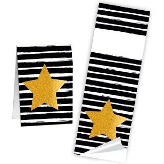 Aufkleber schwarz weiß gestreift mit Stern in gold - 5 x 14,8 cm