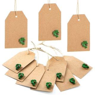 10 Geschenketiketten zum Beschriften  braun + grüne Kleeblätter