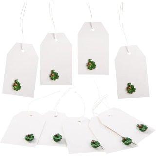 10 Geschenketiketten mit Schnur zum Aufhängen + grüne Kleeblätter