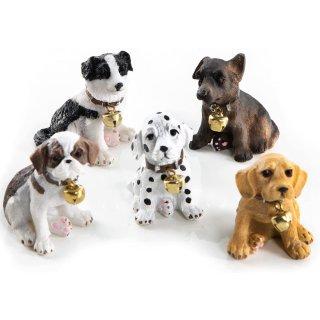 5 kleine Hundefiguren mit Glöckchen - Hunde Figuren als Geschenkidee