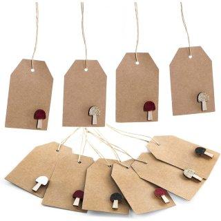 10 Flaschenanhänger zum Beschriften aus Kraftpapier - mit Glücksbringer Pilz