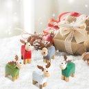 10 kleine Rentier Figuren aus Holz - bunte Weihnachtsdeko...