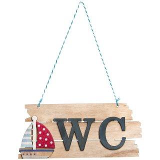 WC-Schild aus Holz zum Aufhängen mit Segelboot-Motiv