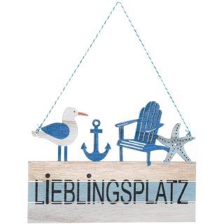 Maritimes Türschild LIEBLINGSPLATZ Natur blau weiß mit Möwe & Anker