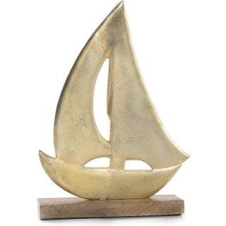 Goldfarbenes Deko Schiff aus Metall - 32 cm aus Holz & Metall