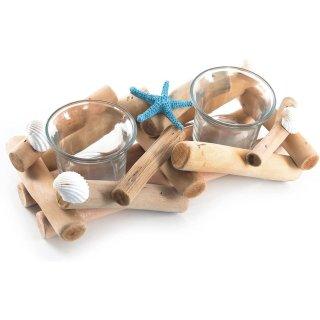 Maritime Tischlichter aus Treibholz & Glas – aus Holz mit Glaseinsatz