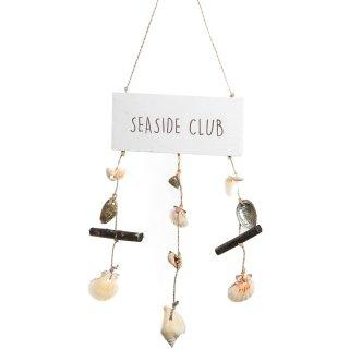 Maritimes Türschild Seaside Club aus Holz Natur weiß braun mit Muscheln