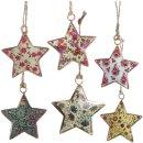 6 bunte Sterne Anhänger - 6 cm aus Metall - Deko zum...