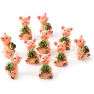 10 kleine Glücksschweine in rosa grün - 2,5 cm