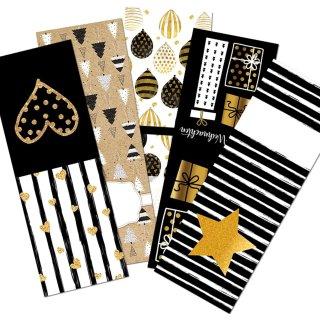Geschenkaufkleber Set - 5 x 10 Aufkleber schwarz gold weiß