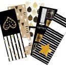 Geschenkaufkleber Set - 5 x 10 Aufkleber schwarz gold...