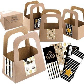 5 Henkelkörbe aus Kraftpapier + Geschenkaufkleber für Weihnachten & Geburtstag