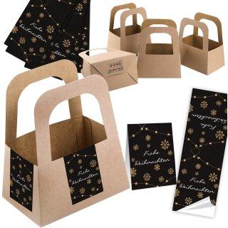 5 kleine Geschenkschachteln + 10 schwarz goldene Weihnachtsaufkleber