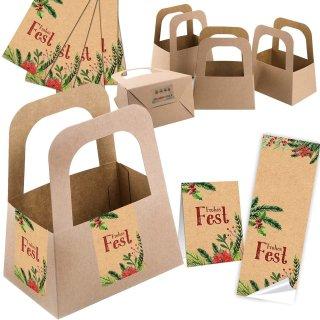 5 kleine Geschenkschachteln + 10 Aufkleber Frohes Fest in braun rot grün