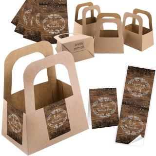 5 kleine Geschenkkörbe aus Kraftpapier + 10 Weihnachtsaufkleber braun - Verpackung Kundengeschenke Weihnachten