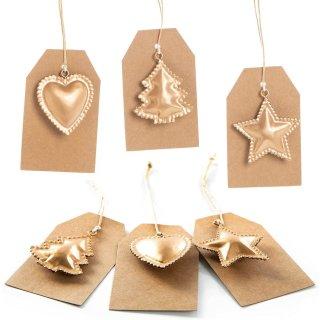 6 Kraftpapieretiketten mit Metallanhänger Herz Stern Baum braun gold