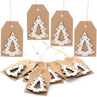10 Kraftpapieranhänger zum Beschriften mit glitzerndem Tannenbaum braun weiß