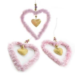 3 weihnachtliche Herz Anhänger aus Metall & Plüsch rosa gold