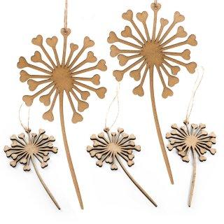 5 Pusteblumen Anhänger aus Holz natur braun mit kleinen Herzen