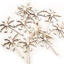 10 kleine Pusteblumen aus Holz Natur braun - 9,5 cm