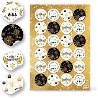 Runde Weihnachtsaufkleber - 4 cm - Merry Christmas Kugeln gold schwarz weiß