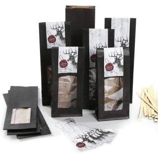 Geschenktüten zum Befüllen mit Sichtfenster + Aufkleber mit Hirsch DEINS