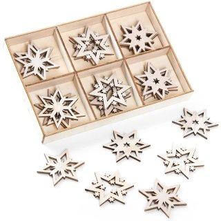 24 kleine Holzsterne natur braun 4,3 cm - als Streudeko Tischdeko