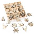 36 kleine weihnachtliche Streuteile aus Holz - gold...
