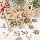36 kleine weihnachtliche Streuteile aus Holz - gold glitzernd