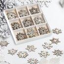 45 kleine Schneeflocken zum Streuen - natur braun aus Holz