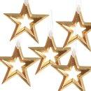 5 kleine Sternanhänger 9 cm aus Metall gold glänzend