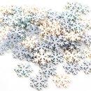 70 kleine Schneeflocken aus Holz zum Streuen - weiß...