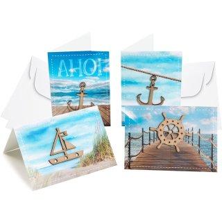 4 maritime Grußkarten mit Kuvert im Set - Glückwunschkarten Set
