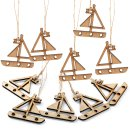 10 kleine Holz Segelboote Mini mit Schnur zum Aufhängen