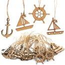4 x 10 Holz Anhänger maritim - Anker + Segelboot +...