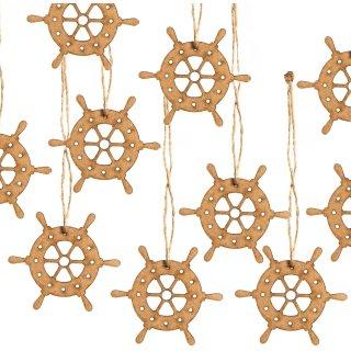 10 kleine Steuerrad Schiffsruder Anhänger Streuteile aus Holz
