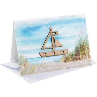 Maritime Glückwunschkarten mit Segelschiff aus Holz + Kuvert