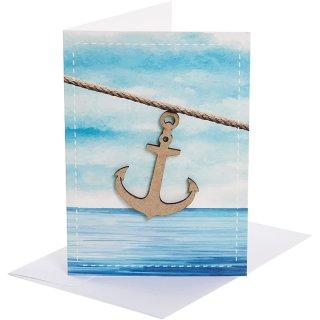 3 maritime Geburtstagskarten mit Holzanker und Meer + Kuvert