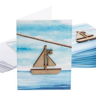 Leere Klappkarten mit Kuvert + Segelboot aus Holz - maritime blanko Grußkarten