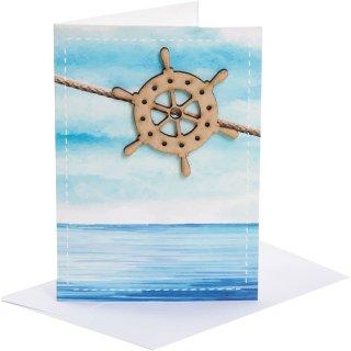 Maritime blanko Karten mit Steuerrad aus Holz + Kuvert - blau türkis