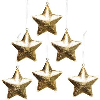 6 kleine Sterne gold aus Metall - Weihnachtssterne zum Aufhängen