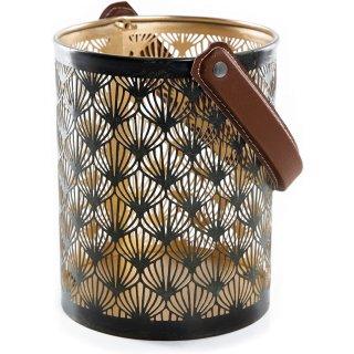 Windlicht Laterne mit Henkel dunkelgrün Gold - aus Metall