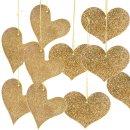 10 goldfarben glitzernde Herzen zum Aufhängen 2 Motive